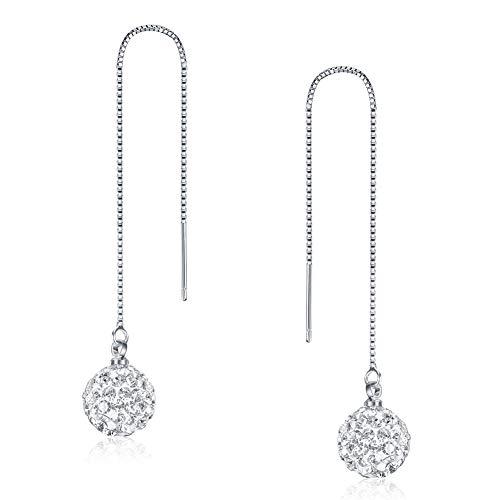 - SKA Jewelry 10mm Disco Ball Long Chain Threader Earrings for Women Cubic Zirconia Ball Drop Dangle Earrings White Gold Plated
