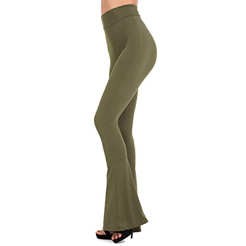 Brovollous Women's Boho Solid Yoga Spandex High Waist Leggings Wide Leg Long Flex Flared Boot Cut Pant Olive Green ()