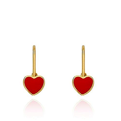 Little Miss Twin Stars Kids Earrings - 14k Gold Plated Red Enamel Heart Leverback Girls Earrings For Kids Red Heart Charms Nickel Free Earrings For Sensitive Ears Hypoallergenic Earrings For Girls