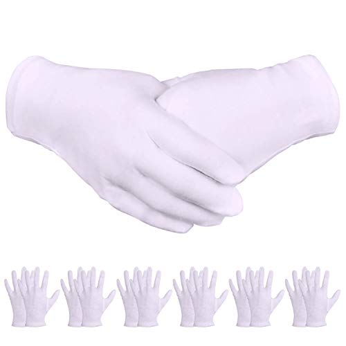 (Zealor 16 Pairs White Cotton Gloves for Cosmetic Moisturizing Coin Jewelry Silver Inspection Gloves, Medium Size)