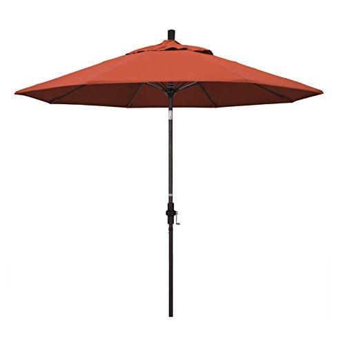 California Umbrella 9' Round Aluminum Pole Fiberglass Rib Market Umbrella, Crank Lift, Collar Tilt, Bronze Pole, Sunset Olefin