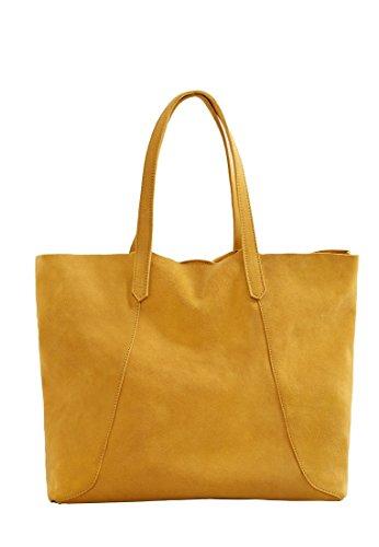 Mango Women's Suede Shopper Bag, Mustard, One Size