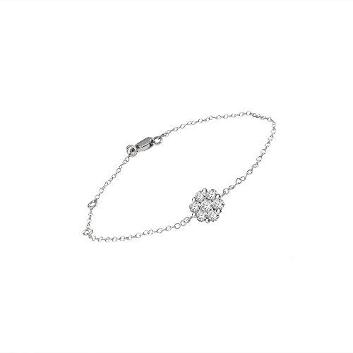 Libertini Bracelet argent 925 serti de Diamant en forme de Fleur