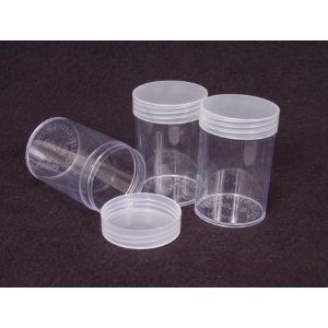 COIN STORAGE TUBES, round clear plastic w/ screw on tops for HALF DOLLARS (Quantity of 10 tubes) - Dollar Coin
