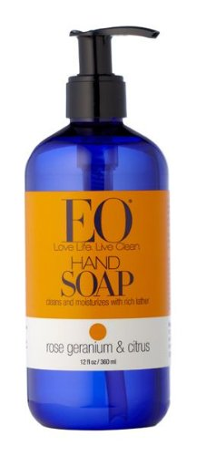 EO Hand Soap, Rose Geranium & Citrus, 12-Ounce Bottles (Pack of 3)
