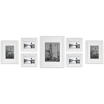 Amazon.com: Gallery Perfect 7 Piece White Photo Frame Gallery Wall ...