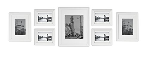 Collage Wall Art Set (Golden State Art, Wall Frames Collection, White Wood Frame Set for Pictures/Photos, 7 Frames)