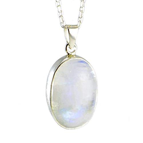 (Men's Women's Sterling Silver Natural Moonstone Oval Handcrafted Pendant 18+2'' (45+5cm) Chain - Adularescence Effect)
