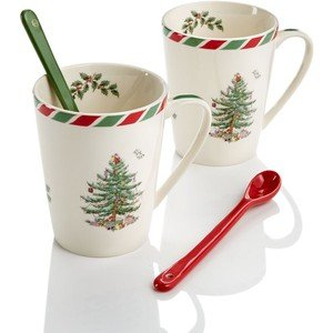 Spode Candy Cane Set of 2 Mugs with Spoons -