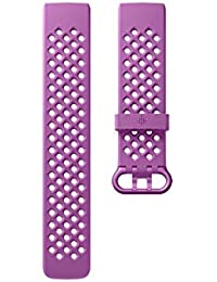 Charge 3 Accessory Band, Official Fitbit Product, Sport, Berry, Large
