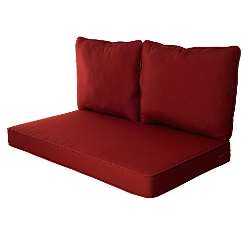 Quality Outdoor Living All Weather Deep Seating Patio Loveseat Seat and Back Cushion Set, 46-Inch by 26-Inch, Red ()