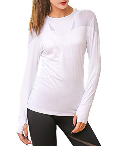 (UDIY Women's Seamless Active Long Sleeve Workout Running Athletic Sports Leisure T-Shirt, White)