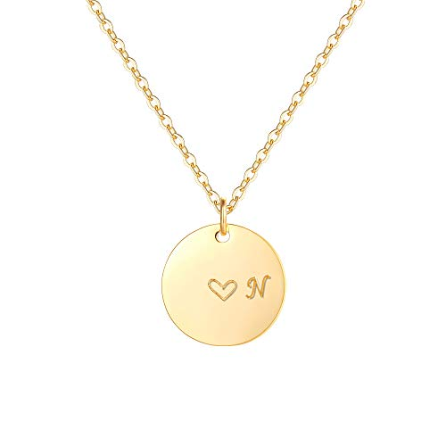 Gold Initial Pendant Necklaces,14K Gold Filled Engraved Disc Personalized Name Dainty Handmade Cute Heart Initial N Tiny Pendant Necklaces Jewelry Gift for - Name Heart Pendant