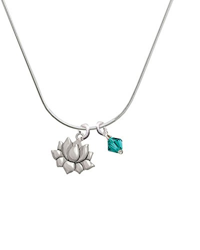 (Silvertone Small Lotus Flower - Teal Bicone Crystal Necklace,)