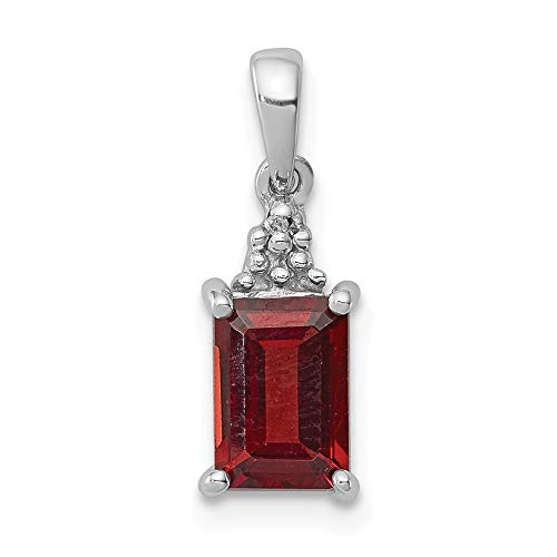 925 Sterling Silver Red Garnet Diamond Pendant Charm Necklace Gemstone Fine Jewelry Gifts For Women For Her