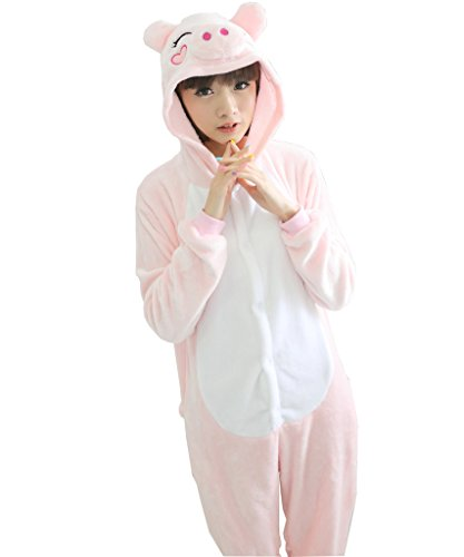 [Tricandide Adult Halloween Costume Cosplay Homewear Lounge Wear Pink Pig M] (Man Bear Pig Costume)