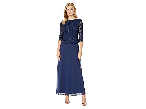 Alex Evenings Women's Long Mock Dress with Full Skirt (Petite and Regular Sizes), Navy, 6