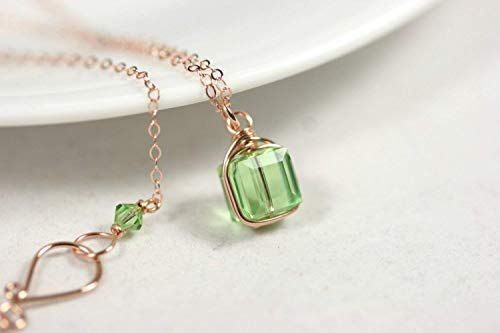 (Rose Gold Peridot Necklace Peridot Swarovski Crystal Necklace Rose or Yellow Gold Filled Wire Wrapped)