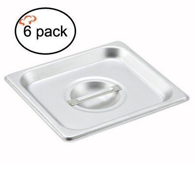 Tiger Chef 1/6 Size Stainless Steel Steam Table Pan Cover, Non-Stick Surface,Pan Lid for 1/6 Size Steam Pans with Handle (6, 1/6 Size) Stainless Food Pan Cover