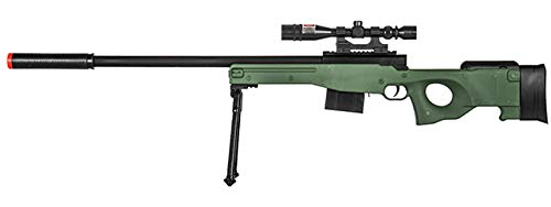 300 FPS - Airsoft Sniper Spring Rifle Gun with Scope and Laser (Green) (Best Air Rifle For Beginners Uk)