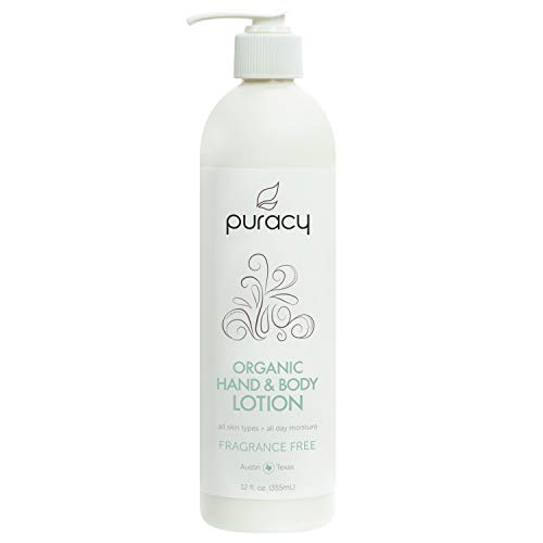 Puracy Organic Hand & Body Lotion, Fragrance Free Natural Moisturizer, 12 Ounce
