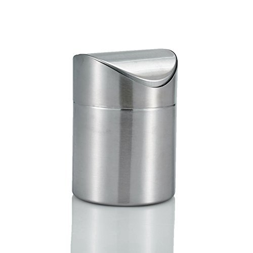 Amteker Mini Countertop Trash Can,Brushed Stainless Steel Table Desk Trash,Swing Top Trash Bin 1.5 L / 0.40 Gal