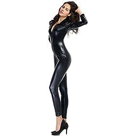 - 31rHWxYPEWL - Ensnovo Womens Shiny Metallic Lycra Spandex Shirt Collar Zipper Catsuits