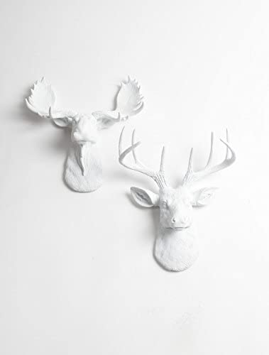 White Faux Taxidermy Mini Set White Moose Head Wall Mount Deer Head Wall Mount, The Mini Templeton Deer and The Mini Edmonton Moose
