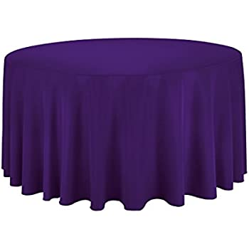 Perfect LinenTablecloth 120 Inch Round Polyester Tablecloth Purple