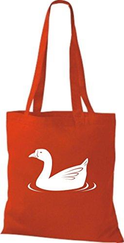 Shirtstown Stoffbeutel Tiere Ente, Duck Rot