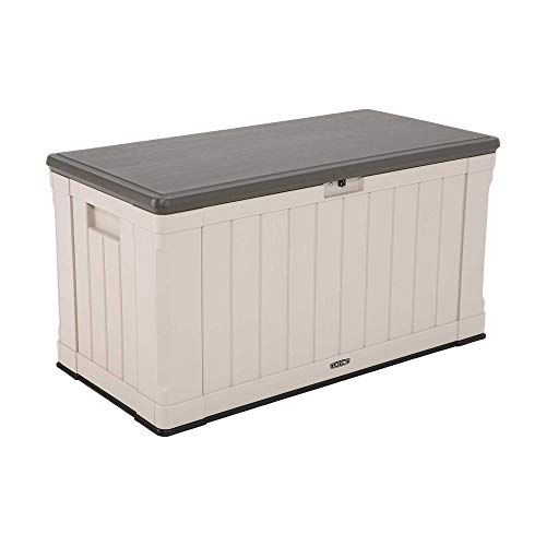 Lifetime 60186 Heavy-Duty Outdoor Storage Deck Box, 116 Gallon, Desert Sand/Brown