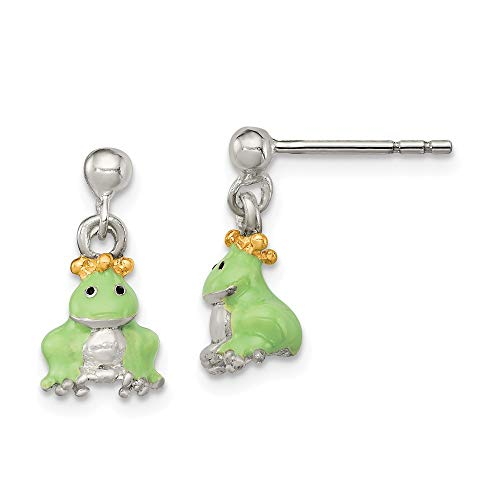 (925 Sterling Silver Childrens Gold Plated/enameled Prince Frog Post Stud Earrings Drop Dangle Crown Animal Wild Fine Jewelry Gifts For Women For Her)