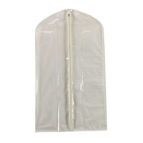 Household Essentials 311393 Hanging Garment Bag | Suit and Jacket Protector | Natural Cotton Canvas with Clear Vinyl Cover