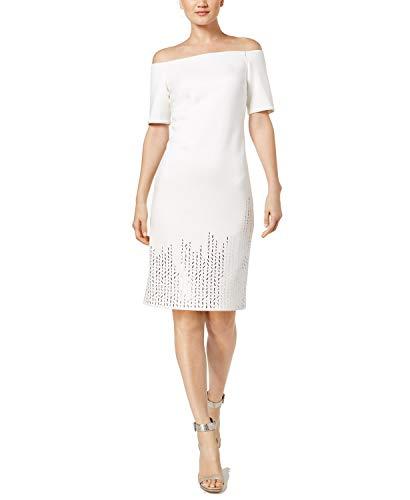 Studded Shoulder Dress - Calvin Klein Women's Off-The-Shoulder Studded Sheath Dress Cream 6