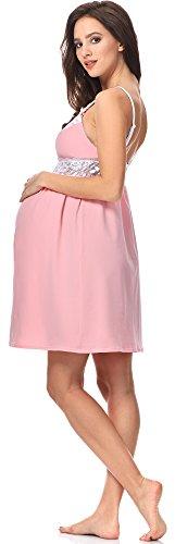 Be Mammy Lactancia Camisón para Mujer BE20-149 Rosa Claro