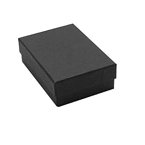 16 Pack Cotton Filled Matte Black Paper Cardboard Jewelry Gift and Retail Boxes 3 X 2 X 1 Inch #32 Size by R J Displays