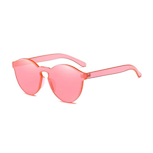 QingFan Fashion Round Vintage Cat Eye Mirrored Metal Frame Women Sunglasses (Watermelon Red, - Sunglasses Watermelon