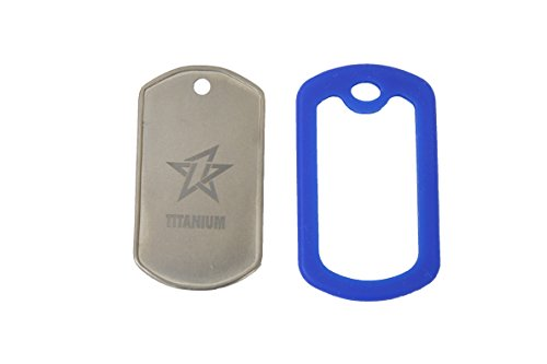 (NikaGrace Personalized Laser Engraving on This Titanium Dog Tag with Blue Rubber Ring Protector)