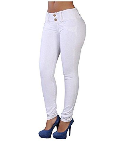 Legging Oudan De Pantalones Jeans Skinny Mujer Cintura Verano Alta Denim Blanco Stretch Slim r0rAnqW