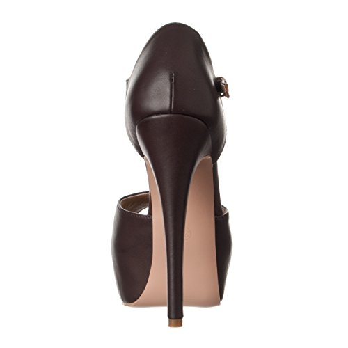 Toe Peep Pump Riverberry High T Heel Pu Strap Platform Coffee Abby Women's qB6BRAt