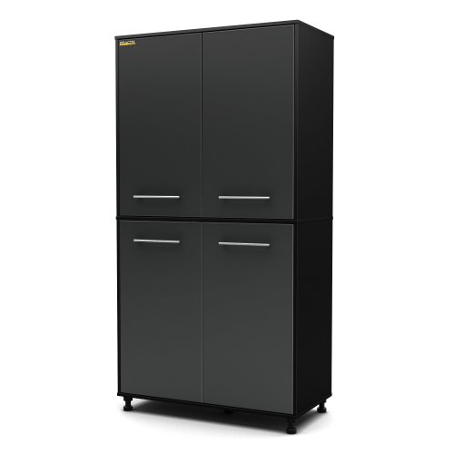 South Shore Karbon 4-Door Tall Storage Cabinet with Adjustable Legs, Pure Black/Charcoal
