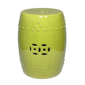 asian traditional lime green ceramic garden stool decorative porcelain ceramic circle oriental modern furniture
