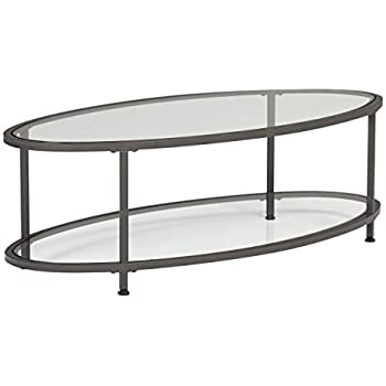 Amazon Com Studio Designs Home Camber Oval Glass Coffee Table In