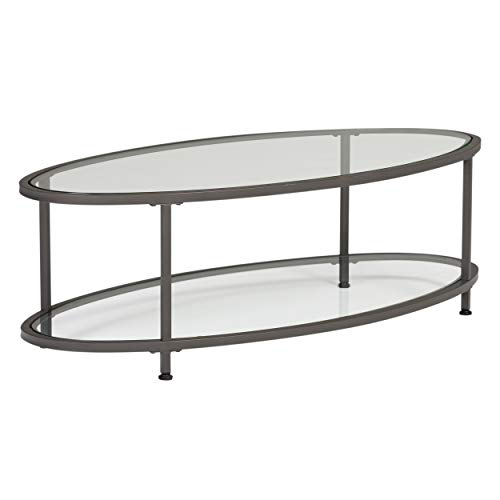 Studio Designs Home Camber Oval Glass Coffee Table In Pewter With Clear Glass, Living Room Coffee Table, 48