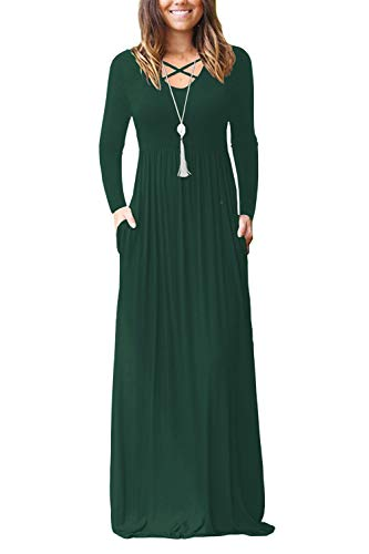 LILBETTER Womens Long Sleeve V-Neck Wrap Waist Maxi Dresses (Dark Green, L)