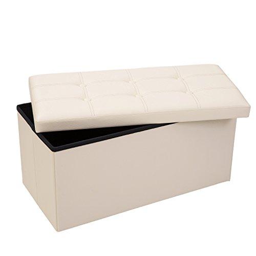 Merax Folding Storage Ottoman Faux Leather Storage Bench, Beige, 14.8 inch(W) x 30 inch(L) x15inch(H)