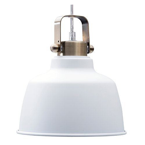 Light Society Mercer Mini Pendant Light, Matte White Shade with Brushed Brass Finish, Modern Industrial Farmhouse Lighting Fixture (LS-C169-WHI)