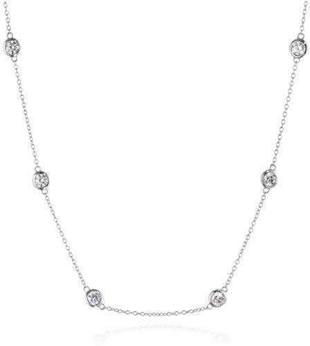 Platinum Plated Sterling Silver Station Necklace set with Round Cut Swarovski Zirconia