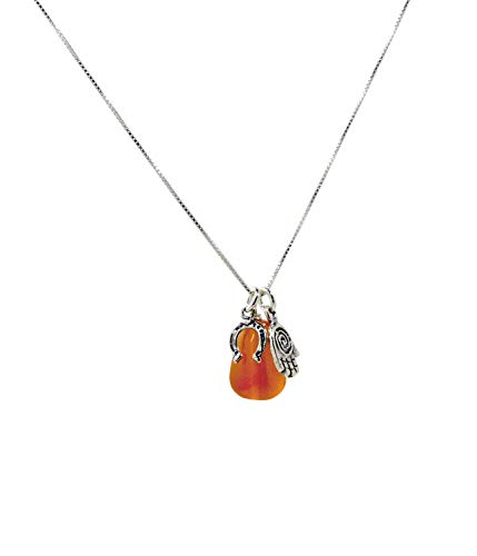 Carnelian Stone Pendant - MIZZE Made for Luck Energy Drop Carnelian Pendant and Necklace with Protection Hamsa Horseshoe Charms in Sterling Silver