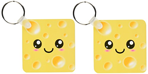 - 3dRose Cute Kawaii Happy Yellow Swiss Cheese with holes a smiley face and rosy cheeks - Key Chains, 2.25 x 2.25 inches, set of 2 (kc_58324_1)